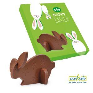0331 C - Origineel relatiegeschenk Pasen, 3d puzzel chocolade paashaas 100 stuks