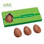 0375 Easter 3 chocolade paaseieren in platte verpakking groen relatiegeschenken Pasen Rotterdam
