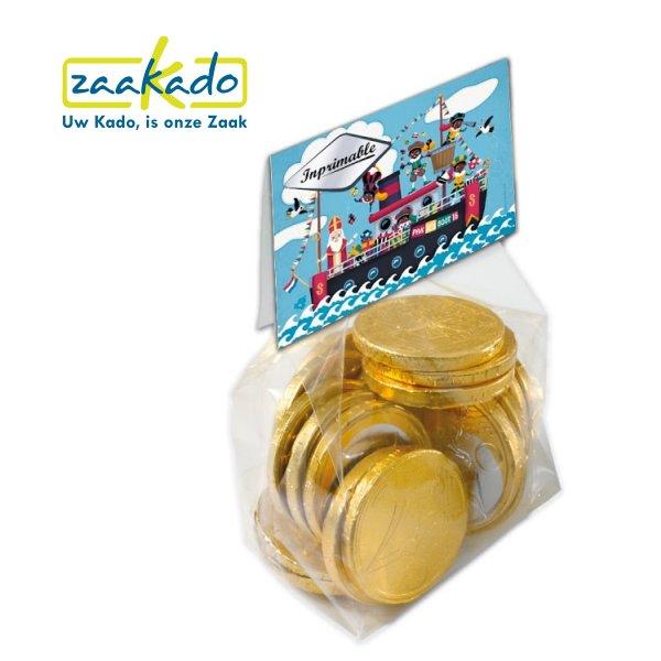 063 Sinterklaasattentie zakje met chocolade munt bedrukt met logo, ZaaKado relatiegeschenken