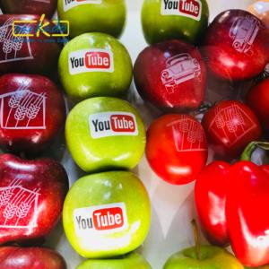 2 kleuren bedrukken eetbare inkt spaanse rode peper komkommer perzik appel sinaasappel paprika peer tomaat tomaten citroen limoen fruit bedrukking kleuren logo drukw