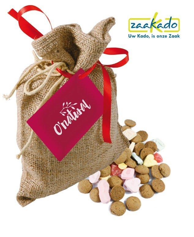 Jute Sinterklaasattentie zakje met strooigoed met logo, ZaaKado relatiegeschenken