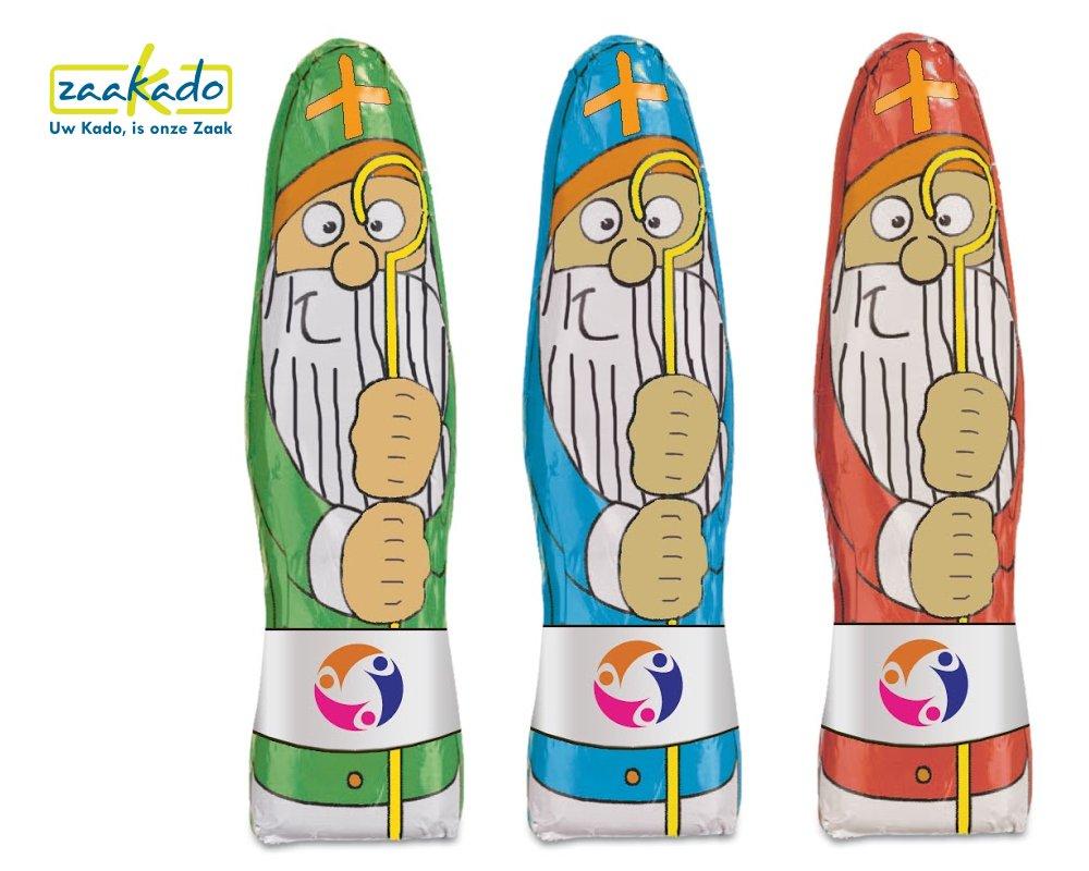 7370 Sinterklaas chocolade poppetje met logo folie ZaaKado relatiegeschenken Rotterdam