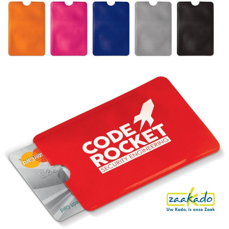 Anti skimming bankpas beschermhoes bedrukt met uw logo als veilige giveaway promotieartikelen ZaaKado Rotterdam