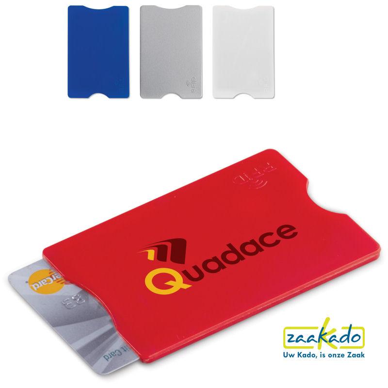 Anti skimming hardcase bankpas beschermhoes bedrukt met uw logo als veilige giveaway promotieartikelen ZaaKado Rotterdam