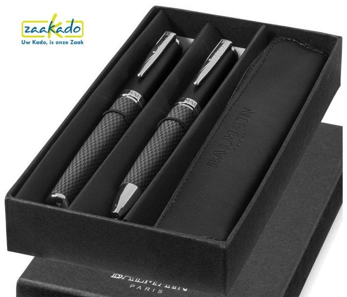 Balmain luxe leren pennenset heren geschenk relatiegeschenken ZaaKado Rotterdam
