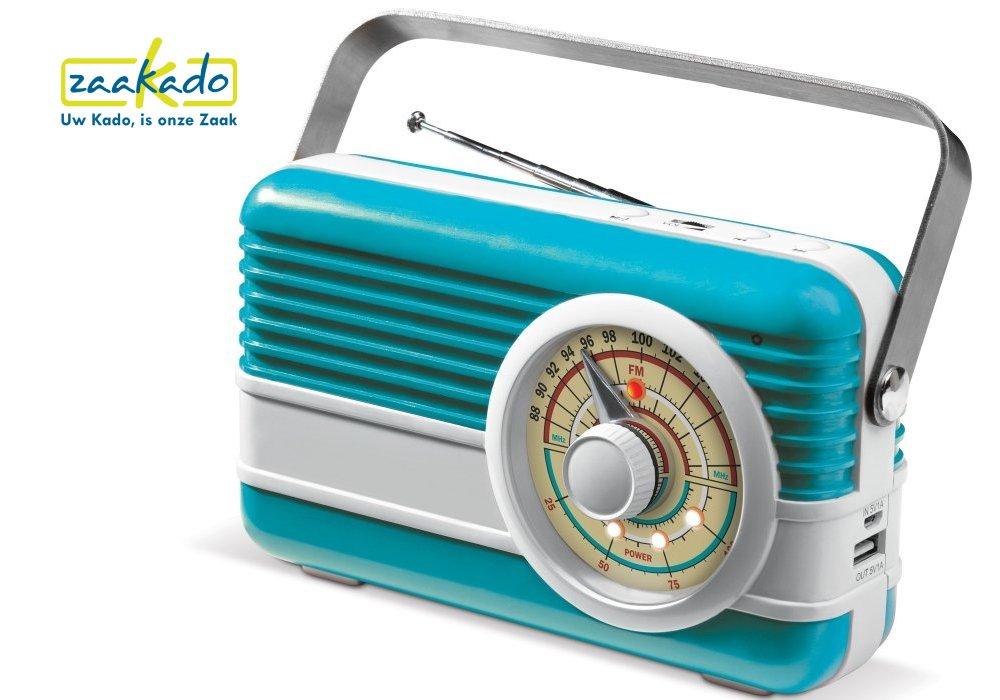 Blauwe Retro bluetooth speaker, powerbank 6000 mAh en FM radio hippe Retro gadget relatiegeschenk ZaaKado Rotterdam