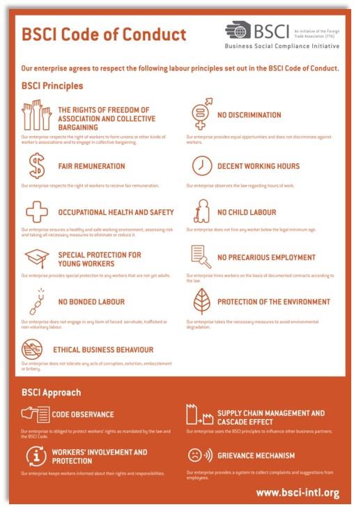 Bsci gedragscode registratiesysteem informatie werkomstandigheden maatschappelijk verantwoord ondernemen CSR Zaakado relatiegeschenken rotterdam gadgets giveaway
