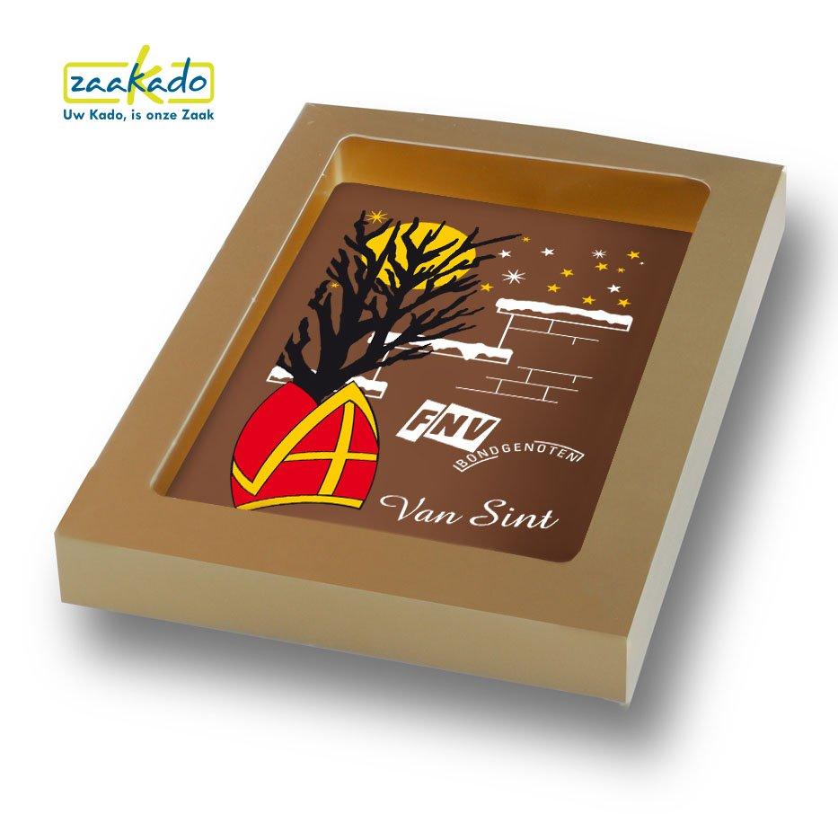 Chocoladetablet kaart goud Sinterklaas attenties personeel - ZaaKado zakelijke Sint geschenken