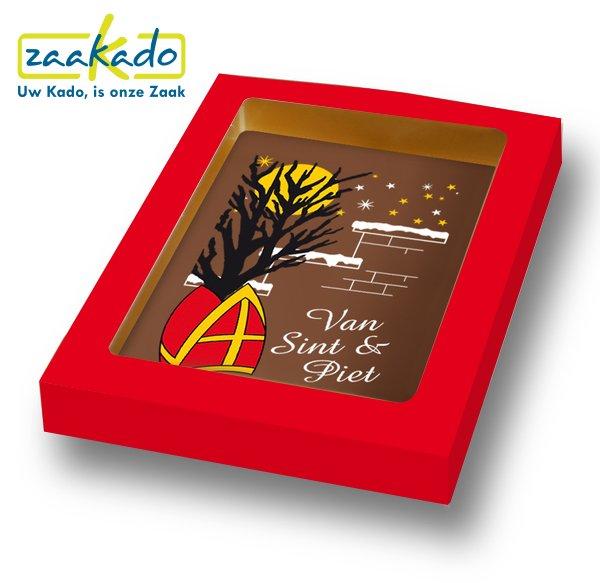 Chocolade kaart chocoladetablet rood Sinterklaas attenties personeel - ZaaKado zakelijke Sint geschenken