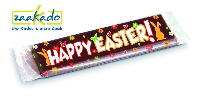 Chocoladereep Volijk Pasen en bedrukking logo ZaaKado relatiegeschenken