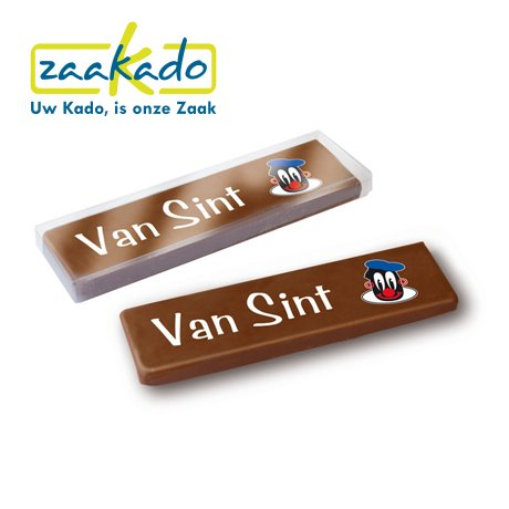 Chocoladereep van Sinterklaas en bedrukking logo ZaaKado relatiegeschenken