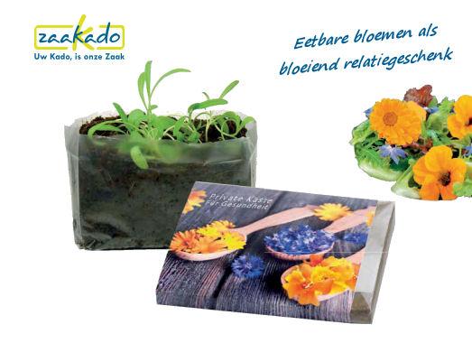 Eetbare bloemenals bloeiend relatiegeschenk gepersonaliseerd geschnek met logo brievenbus formaat Rotterdam ZaaKado