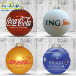 Eindejaarsgeschenk kerst kerstbal kerstballen bedrijf organisatie glas kerstboom uniek op maat full colour bedrukking eigen ontwerp relatiegeschenk ZaaKado Rotterdam