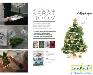 Eindejaarsgeschenk kerst kerstboom brievenbus brievenbusgeschenk brievenbusformaat per post versturen persoonlijk op maat logo relatiegeschenk ZaaKado Rotterdam