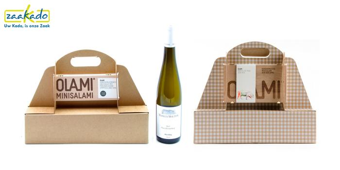 Eindejaarsgeschenk salami wijn wijnverpakking logo huisstijl naam boodschap bedrukken bedrukt persoonlijk gepersonaliseerd promotie relatiegeschenk ZaaKado Rotterdam