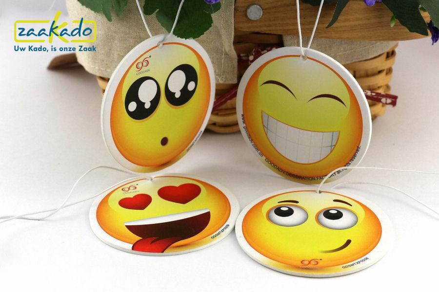 Emoiji Emoticon Auto luchtverfrisser eigen vorm fruit bloemen auto transportsector giveaway geur ZaaKado Rotterdam custom made