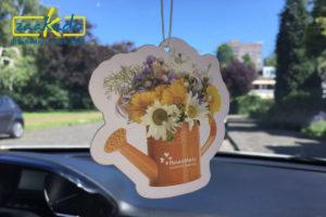 Fleurametz Auto luchtverfrisser logo eigen vorm fruit bloemen auto geur transportsector giveaway ZaaKado Rotterdam Relatiegeschenk bloemengroothandel fris zaakadotip