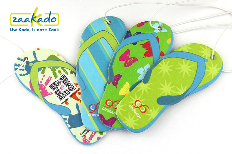 Flip flop schoen Auto luchtverfrisser eigen vorm fruit bloemen auto transportsector giveaway geur ZaaKado Rotterdam custom made