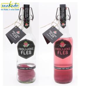 Frolijcke Fles relatiegeschenk logo huisstijl op maat verpakking pakket bedrukt bedrukken aardbei munt rood roze drank cocktail ZaaKado Rotterdam