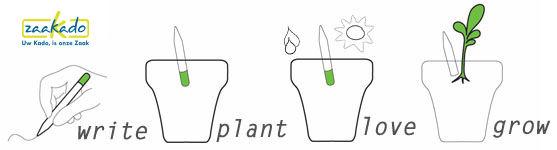 Groeiende potlood met zaden met uw beeldmerk als uniek origineel relatiegeschenk MVO ECO duurzaam