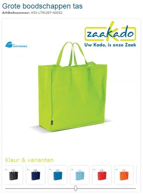 Grote boodschappen tas bedrukt met logo, ZaaKado.nl relatiegeschenken Rotterdam & promotieartikelen
