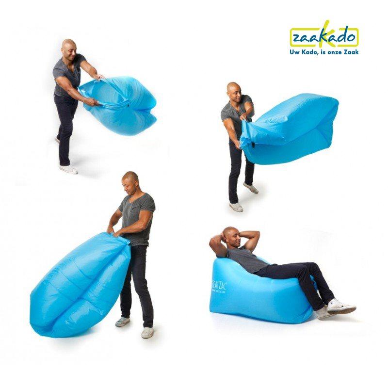 Hoe werkt het Seatzac chillbag logo bedrukken instructie lucht vullen zitzak relatiegeschenken rotterdam zaakado giveaway origineel geschenk kadotip