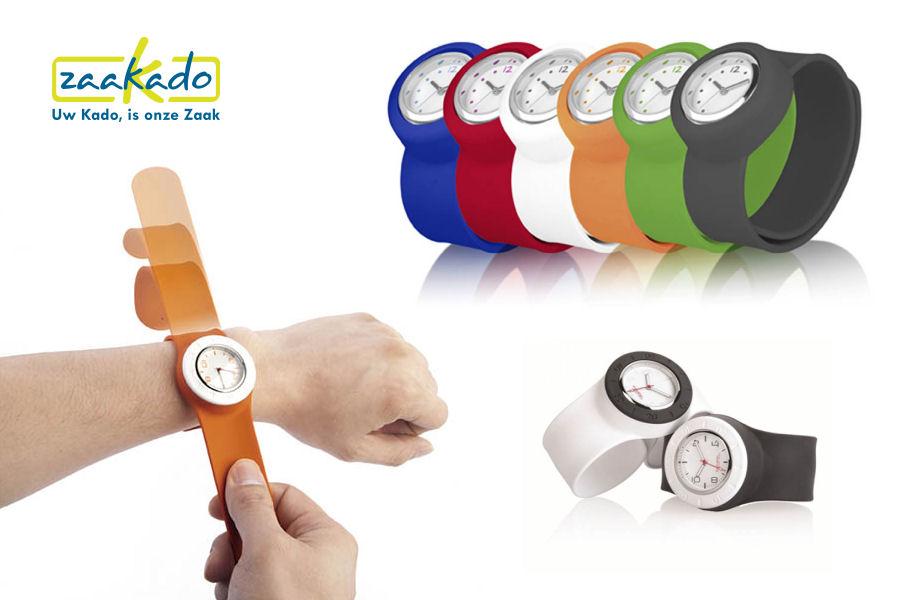 Horloge logo wijzerplaat siliconen klaparmband mannen vrouwen rood, blauw, groen, oranje, kerst cadeautip eindejaarsgeschenk Zaakado