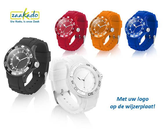Horloge met logo op wijzerplaat, siliconen eindejaarsgeschenk relatiegeschenk oranje blauw rood wit ZaaKadotip