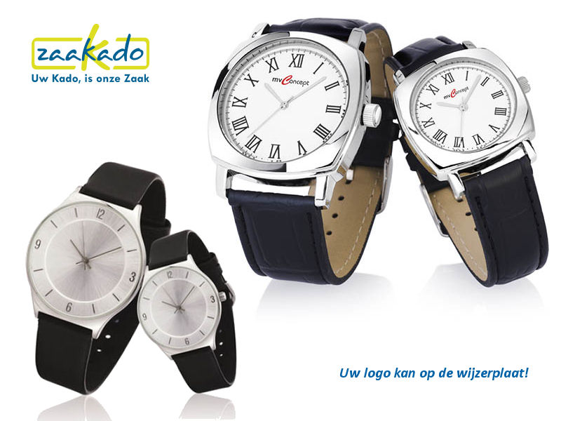 Horloge set heren dames logo wijzerplaat kerstgeschenk klassiek modern leder geschenkverpakking relatiegeschenken ZaaKadotip