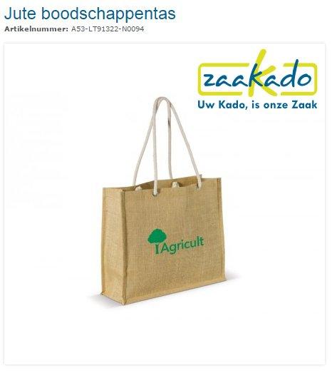 Jute boodschappen tas, shopper, draagtas bedrukt met logo. ZaaKado BV Relatiegeschenken Rotterdam en promotieartikelen