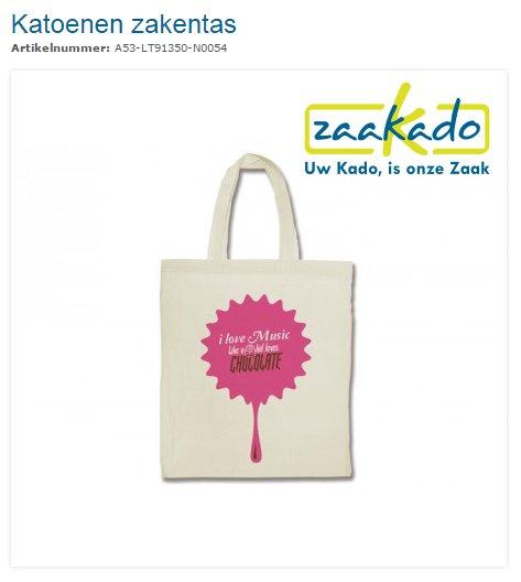 Katoenen tas, zakentas bedrukt ZaaKado.nl. Relatiegeschenken & promotieartikelen