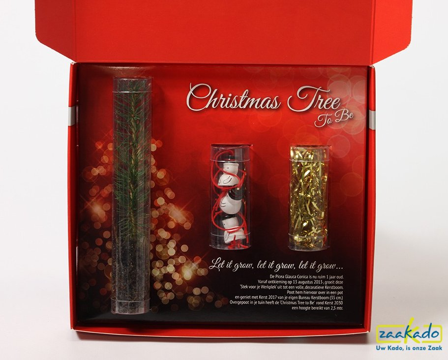 Kerstmailing rood binnenkant, kerstdoos met kerstboom en kerstversiering met uw logo, ZaaKado bv Rotterdam