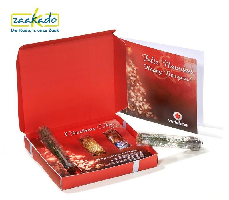 Kerstmailing rood, kerstdoos met kerstboom en kerstversiering met uw logo, ZaaKado bv Rotterdam