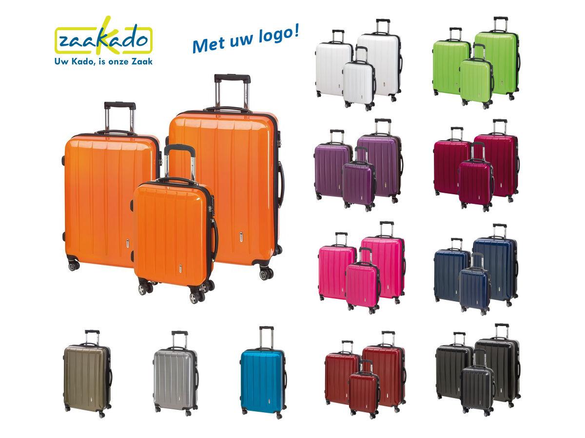 Koffer set logo bedrukking roze, oranje, groen, blauw, rood, paars bordeau rood kerstcadeau kerstpakket eindejaarsgeschenken ZaaKadotip