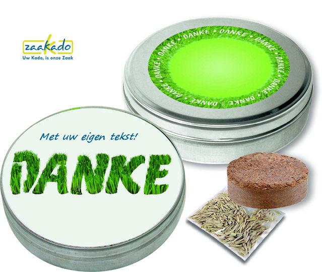 Laat uw eigen logo groeien in gras, giveaway ZaaKado Rotterdam blik bloeiende relatiegeschenken 1094