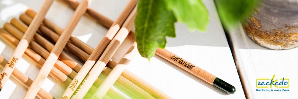 MVO relatiegeschenk groeiende bloeiende potloden met zaad capsule ZaaKado rotterdam duurzaam Eco