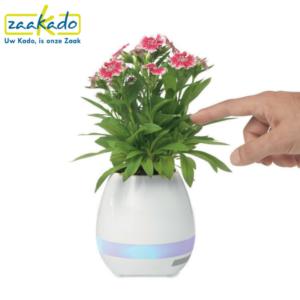 Muzikale bloempot bluetooth speaker uniek opvallend personaliseren persoonlijk bedrukken logo huisstijl kleuren verpakking naar wens op maat relatiegeschenk ZaaKado Rotterdam