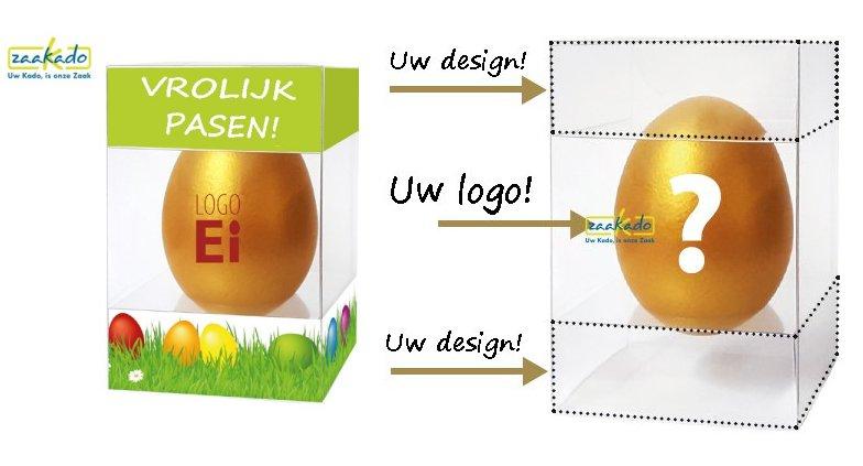 Pasen paasei met logo in giveaway gekookt ei bedrukte ZaaKado promotieartikelen relatiegeschenken Rotterdam personaliseren