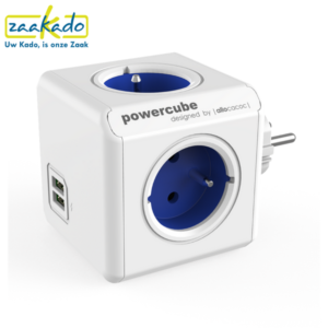 PowerCube AudioCube stekkerdoos bluetooth speaker gadget persoonlijk personaliseren logo huisstijl grijs blauw groen rood verpakking bedrukken bedrukking custom made relatiegeschenk ZaaKado Rotterdam