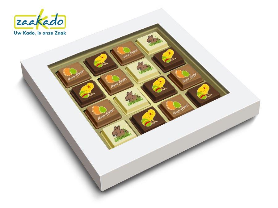 Premium pralines bonbons Pasen Paasgeschenk bedrukt met uw logo ZaaKado relatiegeschenken