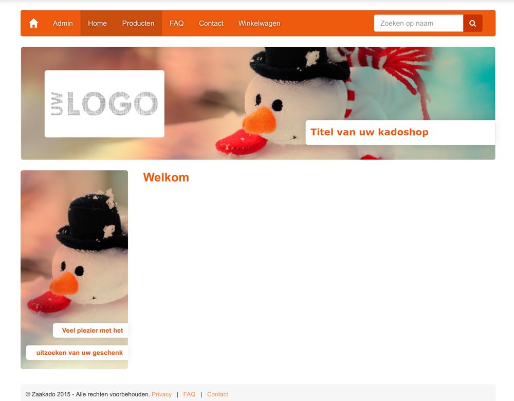 Thema uitstraling van uw eigen kerst online keuze kadoshop! kadoshopmanager onderdeel van ZaaKado BV