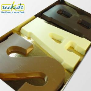 Sinterklaas chocolade geschenken chocolade relatiegeschenk drie chocoladeletters in één verpakking bedrijf organisatie uniek logo ZaaKado Rotterdam