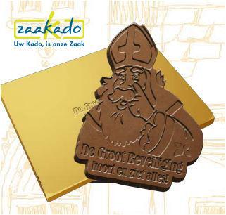 Sinterklaas chocolade in eigen vorm met logo verdiept in chocolade vanaf 100 stuk minimale afname luxe verpakt ZaaKado Rotterdam