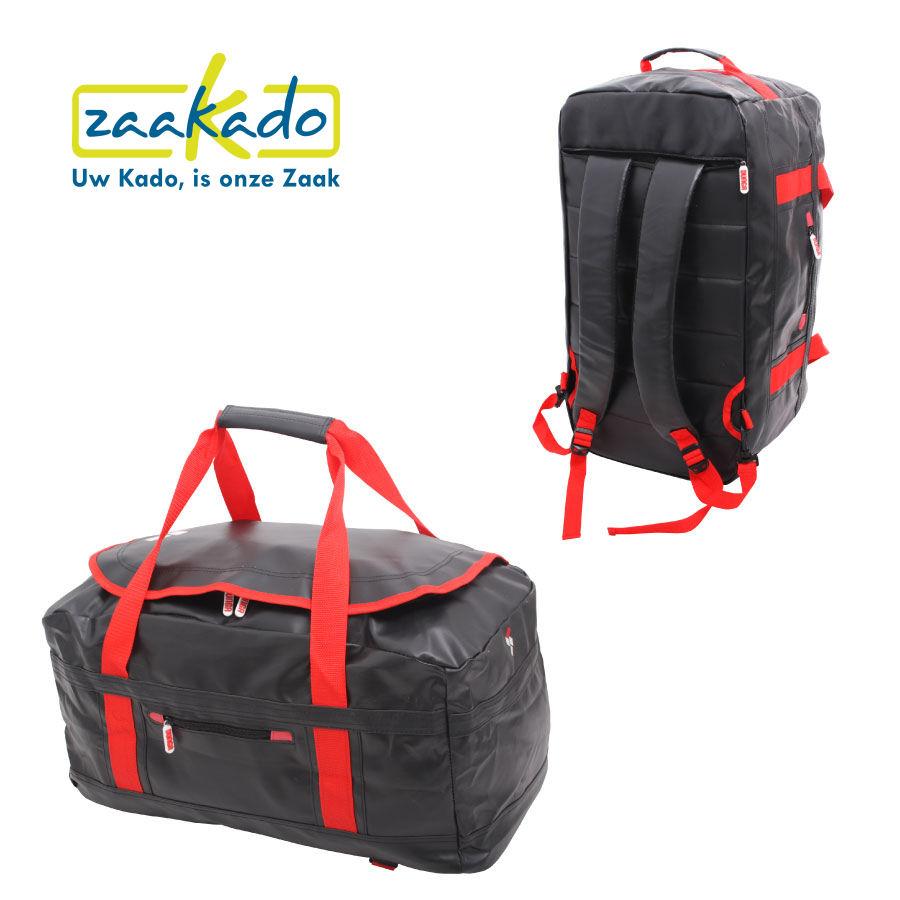 Sporttas rugzak in één met logo bedrukking, zwart rood functioneel handig kerst cadeau mannen sportief kerstpakket eindejaarsgeschenk ZaaKadotip