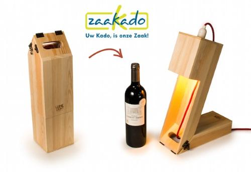 Originele houten wijnkisten ZaaKado - Kerst en eindejaarsgeschenken Kadotip TableLight / RackPack WineLight