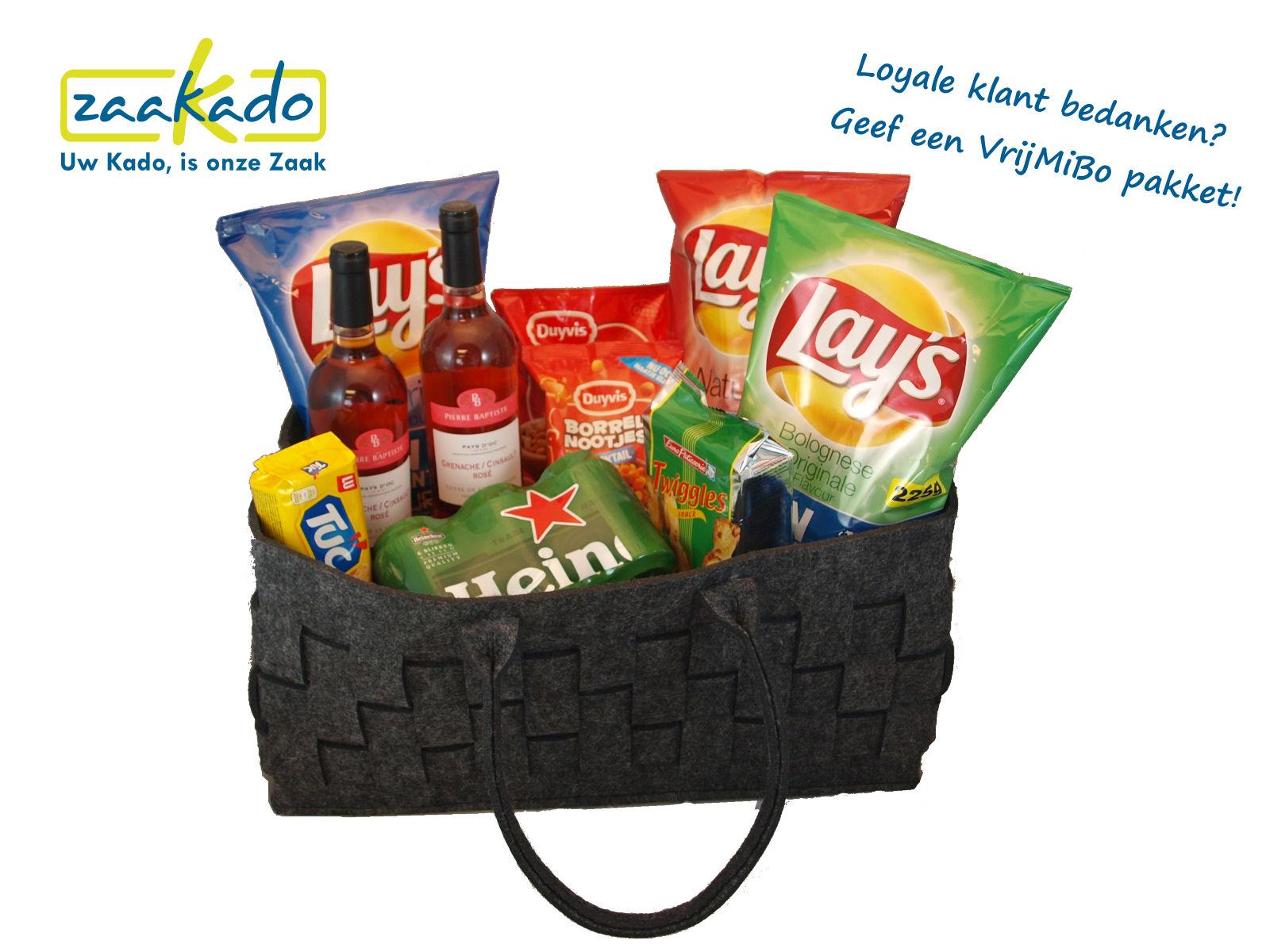 VrijMiBo pakket loyale klanten bedanken, cadeau voor de afdeling, relatiegeschenken kerstpakketten ZaaKado Rotterdam