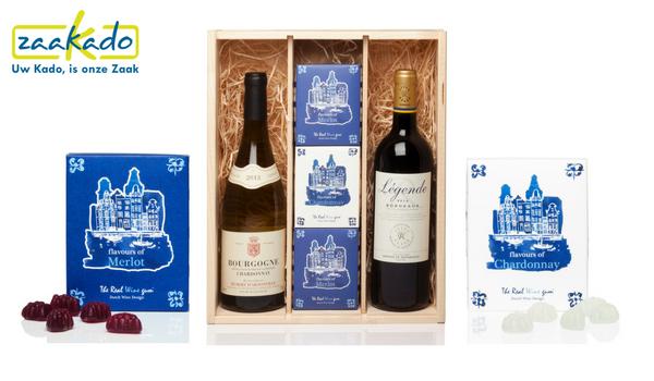 Wijngeschenk wijngeschenken winegums eetbare wijn huisstijl personaliseren persoonlijk logo boodschap kleuren custom geschenkverpakking verpakking relatiegeschenken ZaaKado Rotterdam