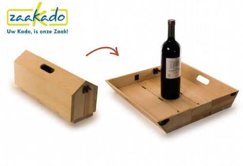 WinePlate, houten wijnkist veranderd in een dienblad ZaaKado.nl