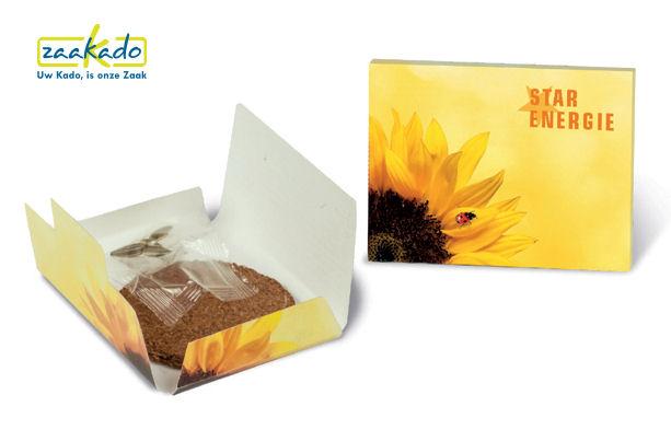Zonnebloem zaadjes kaart brievenbus formaat bloeiende relatiegeschenken Rotterdam ZaaKado