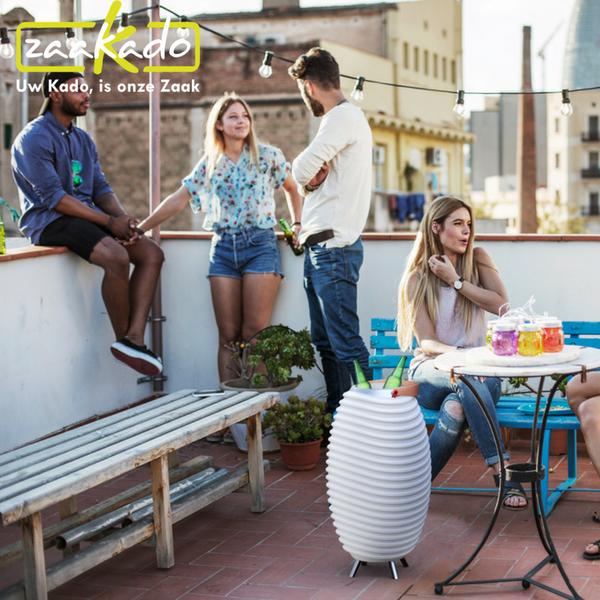 bluetooth speaker, wijnkoeler en led lamp hippe luxe relatiegeschenken moderne afwerking aluminium poten led verlichting draagbare fleskoeler hoe werkt blinddruk waarom relatiegeschenken